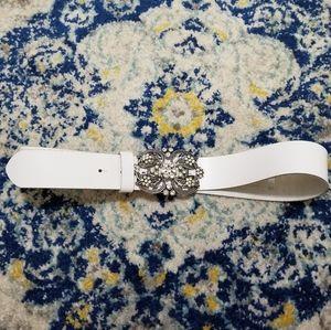 H&M White Crystal Embellished Floral Belt Buckle